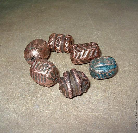 Для украшений ручной работы. Ярмарка Мастеров - ручная работа. Купить Медно-керамические бусины-бочонки 1,7 - 2 см. Handmade.