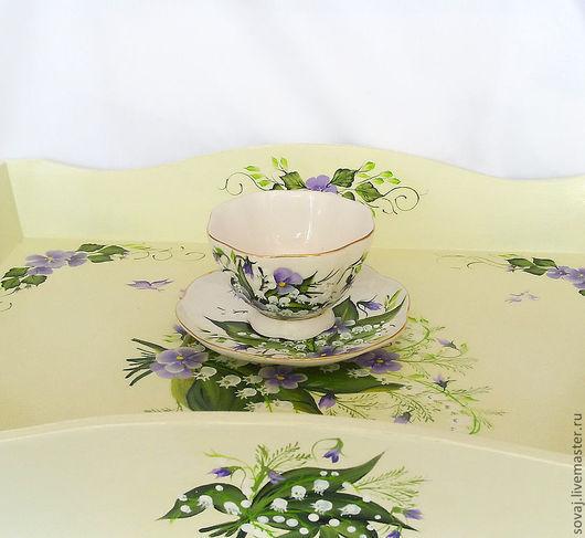 """Сервизы, чайные пары ручной работы. Ярмарка Мастеров - ручная работа. Купить Чайна пара с росписью """" День ландыша"""". Handmade."""