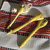 """Посуда ручной работы. Ярмарка Мастеров - ручная работа Набор резных деревянных ложек """"Желтый крокодил"""", барбарис. Handmade."""