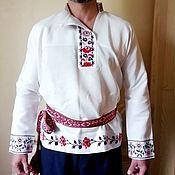 Русский стиль handmade. Livemaster - original item Festive white linen shirt. Handmade.