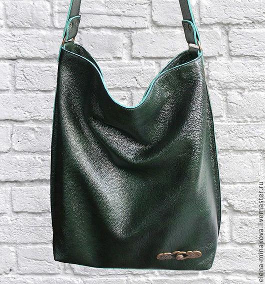 Женские сумки ручной работы. Ярмарка Мастеров - ручная работа. Купить Малахитовая сумка-хобо кожаная. Handmade. Тёмно-зелёный