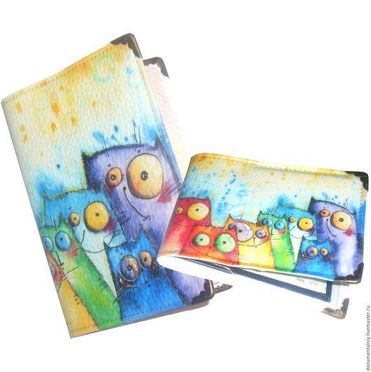"""Обложки ручной работы. Ярмарка Мастеров - ручная работа. Купить Комплект """"Котэ"""" (обложка на паспорт+обложка на студенческий билет). Handmade."""