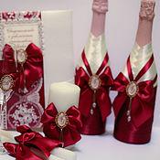 Свадебный салон ручной работы. Ярмарка Мастеров - ручная работа Набор аксессуаров Марсала с брошами с инициалами. Handmade.