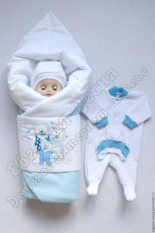 """Для новорожденных, ручной работы. Ярмарка Мастеров - ручная работа. Купить Комплект на выписку """"МиМишки"""". Handmade. Комплект на выписку"""