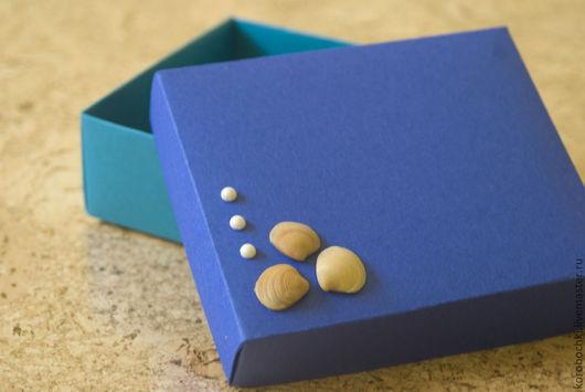 """Подарочная упаковка ручной работы. Ярмарка Мастеров - ручная работа. Купить Коробка """"Морская"""" 15х12,5х5см. Handmade. Тёмно-синий"""