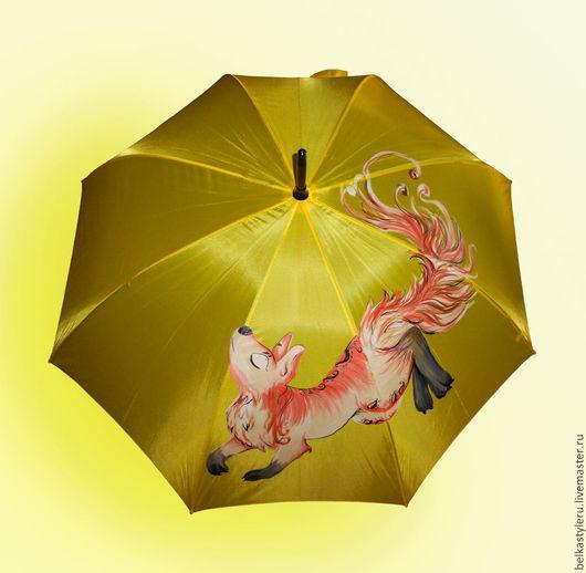 """Зонты ручной работы. Ярмарка Мастеров - ручная работа. Купить Зонт с ручной росписью """"Лисица"""". Handmade. Желтый, магазин зонтов"""