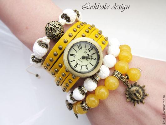 "Часы ручной работы. Ярмарка Мастеров - ручная работа. Купить Часы-браслет ""Солнце"". Handmade. Желтый, часы наручные"