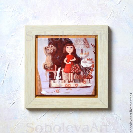 Картина Девочка и Кот Весело Пьют Чай на Рояле, авторская печать, автор Соболева Карина