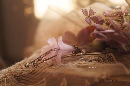 """Серьги ручной работы. Ярмарка Мастеров - ручная работа. Купить Серьги """"Волшебные цветы"""" розовые. Handmade. Бледно-розовый, украшения"""