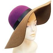 Винтаж handmade. Livemaster - original item Hat with wide brim of 100% wool. Two colors!. Handmade.