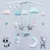 Работы для детей, handmade. Livemaster - original item Children`s mobile made of felt with deer, raccoon, moon. Handmade.