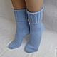 Носки, чулки ручной работы. Носки вязаные. Носочки вязаные «Голубое небо» из коллекции «Подарки». Olgafrancesca . Ярмарка мастеров.