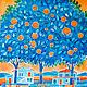 Шелковый платок батик - Апельсиновый рай, Платки, Москва, Фото №1