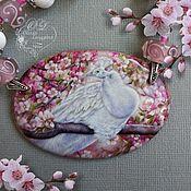 Украшения handmade. Livemaster - original item Pendant: Lacquer miniature White peacock Pendant.. Handmade.
