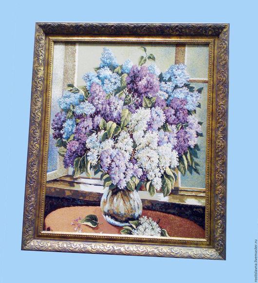 """Картины цветов ручной работы. Ярмарка Мастеров - ручная работа. Купить Картина гобелен """"Сирень"""" в рамке. Handmade. Цветы, Гобелен"""