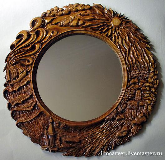 """Зеркала ручной работы. Ярмарка Мастеров - ручная работа. Купить Резьба по дереву. Зеркало в раме """"Четыре Стихии"""". Handmade."""
