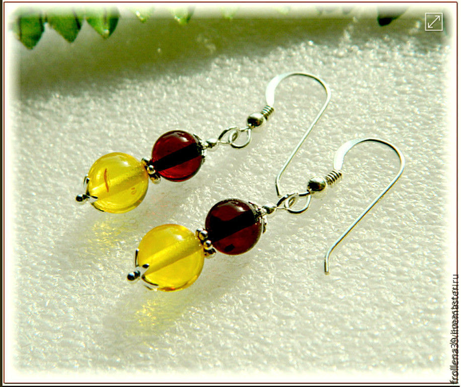 Earrings 'Colored balls' amber silver, Earrings, Moscow,  Фото №1