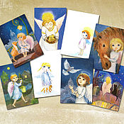 Открытки handmade. Livemaster - original item Christmas angels Set of 8 postcards. Handmade.