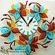Часы для дома ручной работы. Ярмарка Мастеров - ручная работа. Купить настенные часы БИРЮЗА В ШОКОЛАДЕ, фьюзинг, стекло. Handmade.