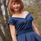 Одежда ручной работы. Ярмарка Мастеров - ручная работа Темно-синее платье ручной работы с бисерной вышивкой. Handmade.