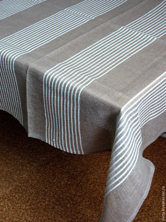 Linen tablecloth grey with white stripe, Size 1,90 x 1,48, Tablecloths, Jelgava,  Фото №1