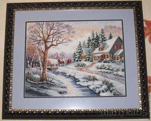 """Вышивка ручной работы. Ярмарка Мастеров - ручная работа. Купить Набор для вышивания  Dimensions """"Зимняя улица"""" (Winter Outing). Handmade."""