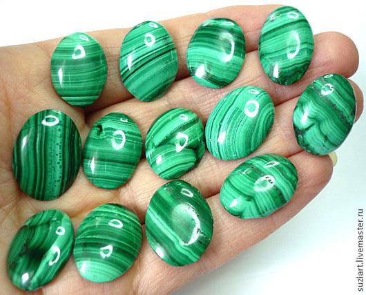 Для украшений ручной работы. Ярмарка Мастеров - ручная работа. Купить Кабошоны МАЛАХИТ.. Handmade. Зеленый, кабошон для украшений