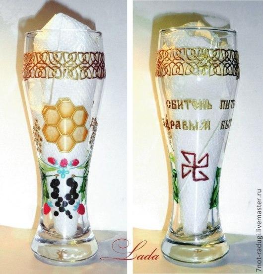 Бокалы, стаканы ручной работы. Ярмарка Мастеров - ручная работа. Купить Бокал стекло 0,5л Сбитень. Handmade. Белый
