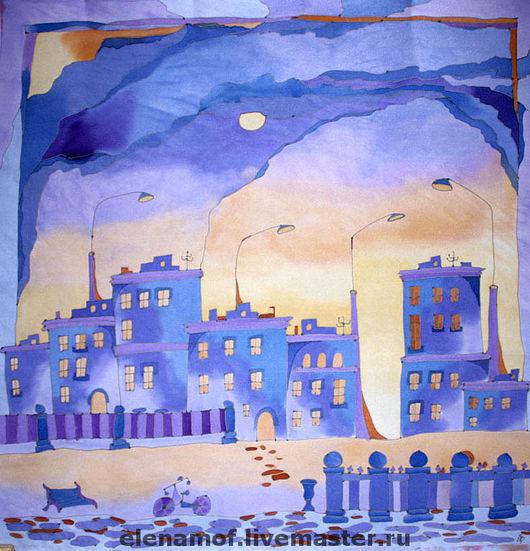 Шали, палантины ручной работы. Ярмарка Мастеров - ручная работа. Купить Платок Фиолетовый город. Handmade. Шелк, шелковый шарф