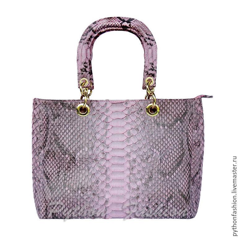 Сумка из кожи питона. Розовая сумка из кожи питона. Красивая женская сумка. Модная сумка из кожи питона. Небольшая удобная сумка из питона. Яркая питоновая сумка ручной работы. Женская сумка из питона