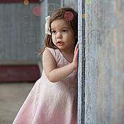 Работы для детей, handmade. Livemaster - original item Pale pink dress for a little girl, felt dress. Handmade.