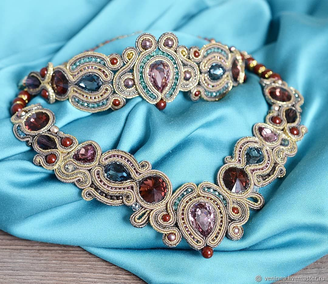 Soutache kit 'Amethyst crystals' Blackened gold, Jewelry Sets, Moscow,  Фото №1
