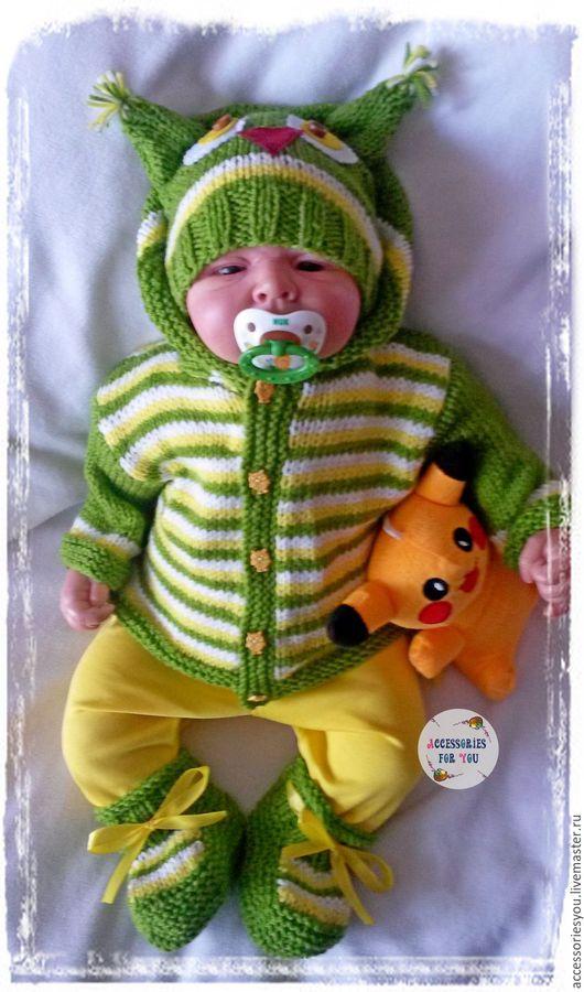 """Для новорожденных, ручной работы. Ярмарка Мастеров - ручная работа. Купить """"Веселый совенок"""" Комплект для малыша. Handmade. Зеленый"""