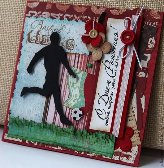 """Открытки для мужчин, ручной работы. Ярмарка Мастеров - ручная работа. Купить Мужская открытка """"Гооол!!!"""" (несколько видов). Handmade."""