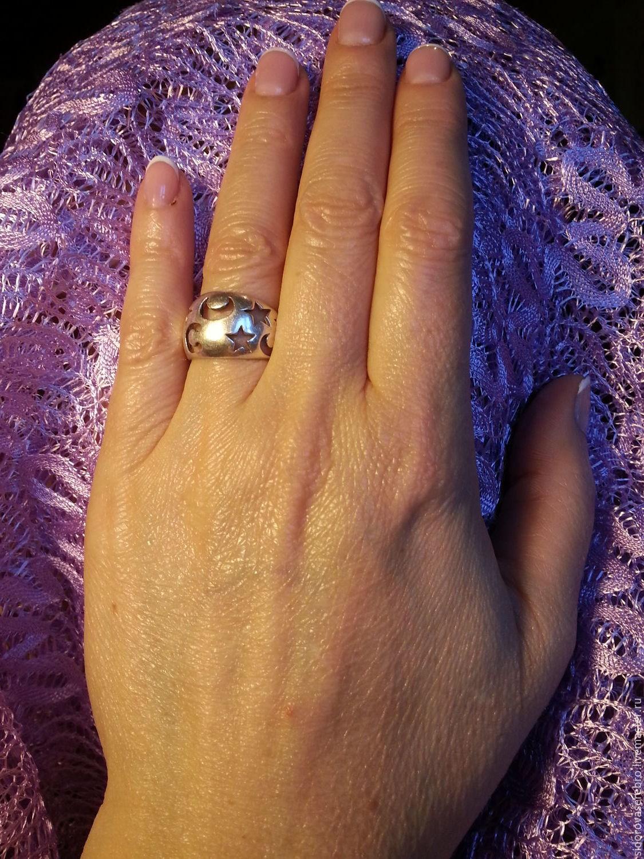 Кольца ручной работы. Ярмарка Мастеров - ручная работа. Купить Серебряное кольцо c вырубленными звёздами и полумесяцами (3). Handmade.