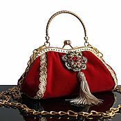 Сумки и аксессуары handmade. Livemaster - original item Handbag collection, tassels, brooch, velvet, red. Handmade.