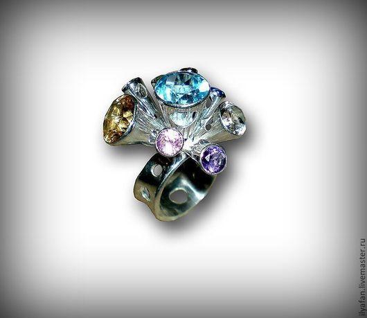 """Кольца ручной работы. Ярмарка Мастеров - ручная работа. Купить Кольцо """"Салют"""". Handmade. Кольцо, кольцо из серебра, кольцо с камнями"""
