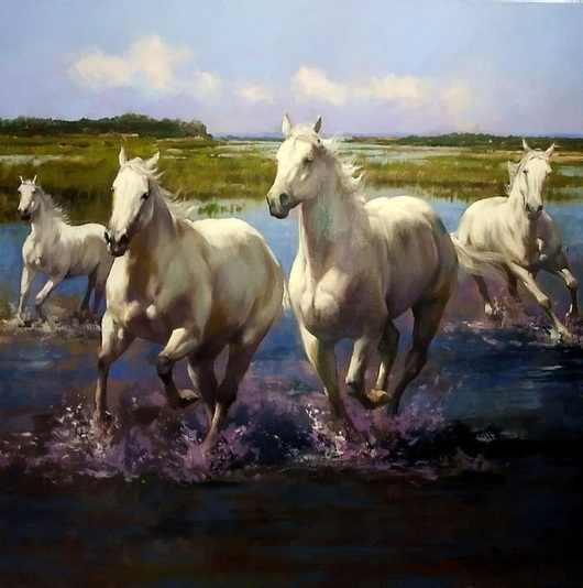 Животные ручной работы. Ярмарка Мастеров - ручная работа. Купить Лошади на реке. Handmade. Картина, картина в подарок, картина маслом