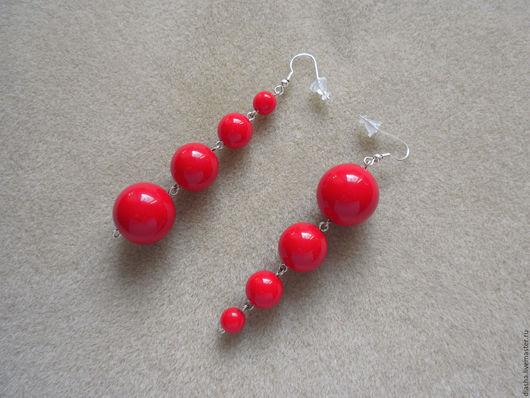 Серьги ручной работы. Ярмарка Мастеров - ручная работа. Купить ХИТ Серьги красные длинные круглые бусины red. Handmade.
