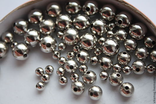 Для украшений ручной работы. Ярмарка Мастеров - ручная работа. Купить Платиновое покрытие, латунный шар  6, 8 мм. Handmade.