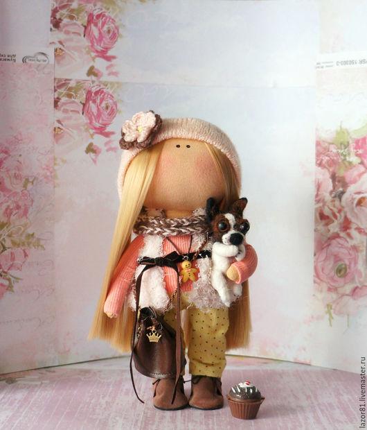 Коллекционные куклы ручной работы. Ярмарка Мастеров - ручная работа. Купить Дама с собачкой. Handmade. Желтый, кукла интерьерная, интерьер