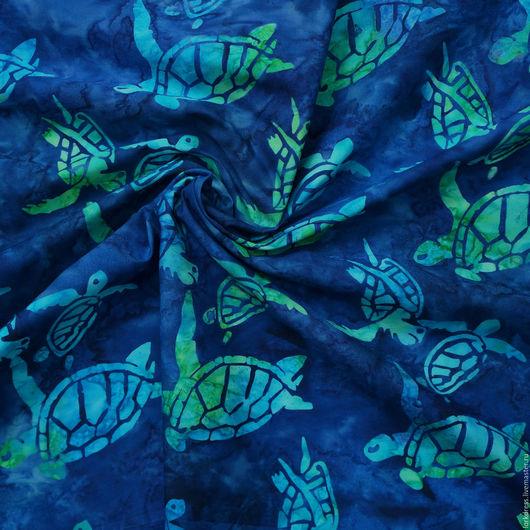 Шитье ручной работы. Ярмарка Мастеров - ручная работа. Купить Хлопок дизайнерский. Handmade. Синий, зеленый, черный, морская тема