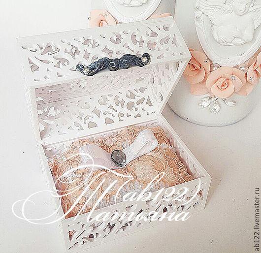 Свадебные аксессуары ручной работы. Ярмарка Мастеров - ручная работа. Купить Шкатулочка для колец свадьба в персиковом цвете. Handmade. Белый