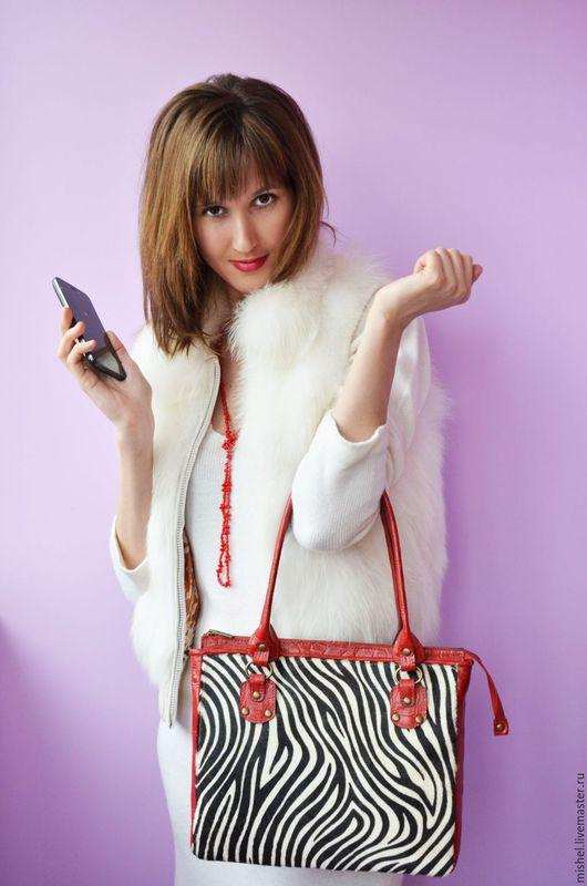 Женские сумки ручной работы. Ярмарка Мастеров - ручная работа. Купить Зебра 1. Handmade. Чёрно-белый, сумка из кожи