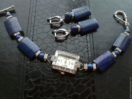 """Часы ручной работы. Ярмарка Мастеров - ручная работа. Купить Комплект с лазуритом """"Река времени 2"""". Handmade. Тёмно-синий"""