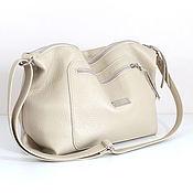 handmade. Livemaster - original item Crossbody bag leather beige with shoulder strap milk cream. Handmade.
