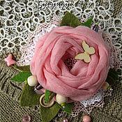 Украшения ручной работы. Ярмарка Мастеров - ручная работа текстильная бохо брошь Роза. Handmade.