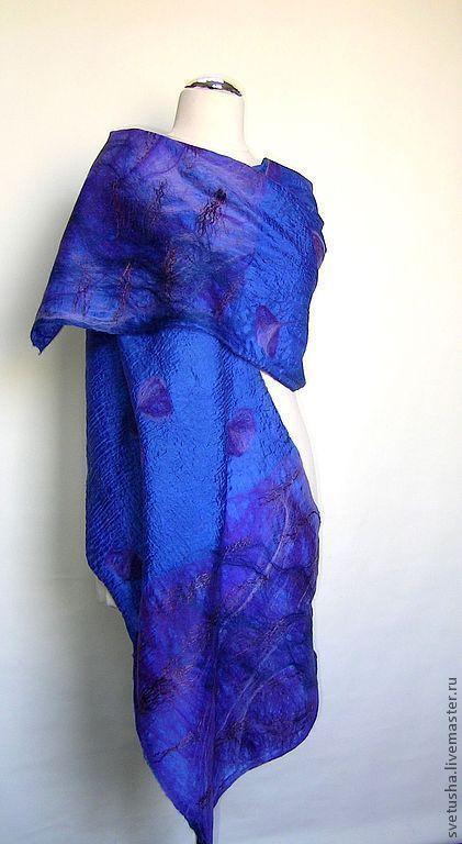 """Шали, палантины ручной работы. Ярмарка Мастеров - ручная работа. Купить Палантин валяный """"Королевский"""" войлочный мериносовый шелковый шарф. Handmade."""