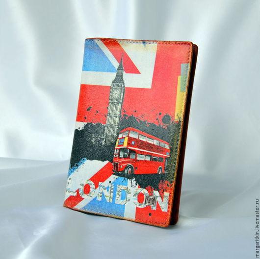 """Обложки ручной работы. Ярмарка Мастеров - ручная работа. Купить Кожаная обложка для паспорта """"London"""".. Handmade. Кожаная обложка паспорт"""