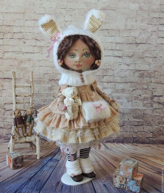 Коллекционные куклы ручной работы. Ярмарка Мастеров - ручная работа. Купить Мамина зайка. Handmade. Бежевый, зайка девочка, хлопок